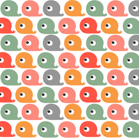 Whales Rainbow fabric by natitys on Spoonflower - custom fabric