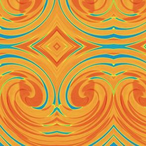 Dramatic Swirl with Diamonds in Orange and Blue