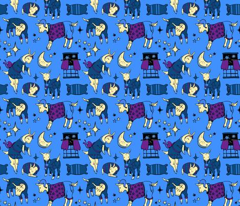 Sleepy Time Goats fabric by katieackley on Spoonflower - custom fabric