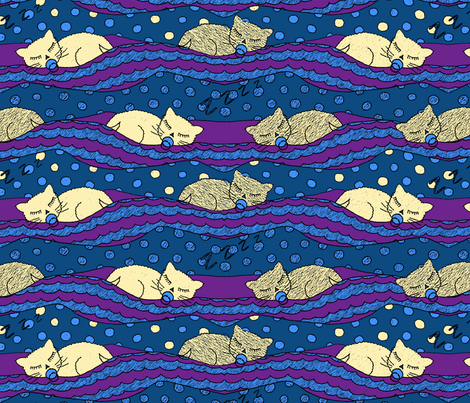 Bed time kitties fabric by lucybaribeau on Spoonflower - custom fabric