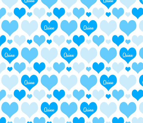 Personalised Heart Design - Blues fabric by shelleymade on Spoonflower - custom fabric