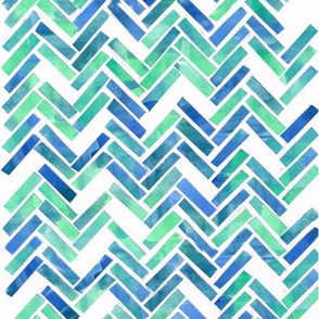 Blue Green Herringbone