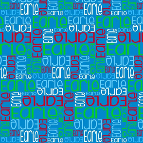 Personalised Name Fabric - Blue Red Green