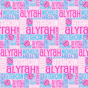 Personalised Name Fabric - Pink and Blue Owls on Pink