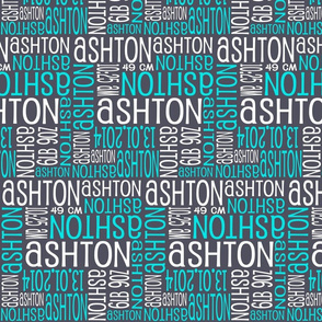 Personalised Birth Details - Grey Turquoise White