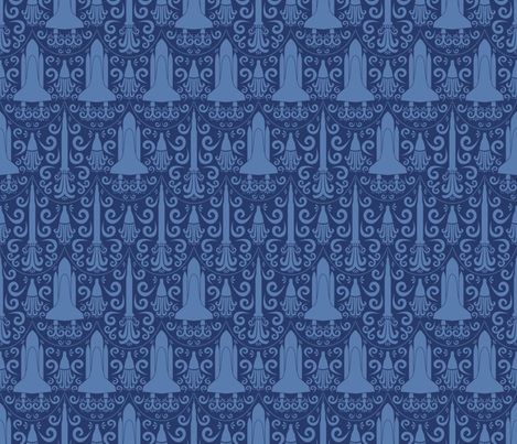 Rocket Science Damask (Navy Blue) fabric by robyriker on Spoonflower - custom fabric