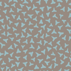 shark tooth silhouettes - teal on grey