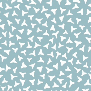 shark tooth silhouettes - white on greyed teal