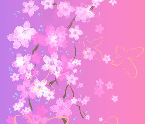 Japanese Sakura fabric by risu_rose on Spoonflower - custom fabric