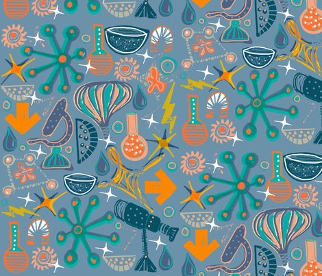 Busy, Busy at the Science Fair! fabric by slumbermonkey on Spoonflower - custom fabric