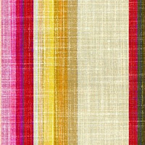 Faux Linen Red and Gold stripe