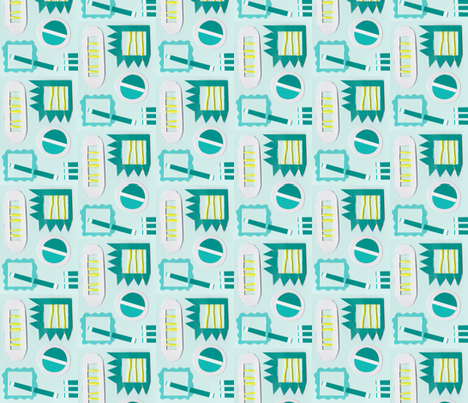 Teal Frames Yellow Stripes fabric by kbutler on Spoonflower - custom fabric