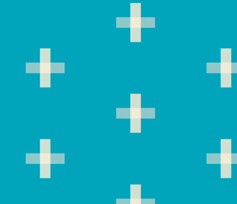 Swiss Cross Cyan fabric by jackieatweelife on Spoonflower - custom fabric