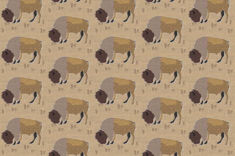 Bison with swirly coat fabric by vanillabeandesigns on Spoonflower - custom fabric