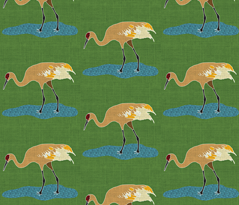 Sand Hill Crane with linen texture fabric by vanillabeandesigns on Spoonflower - custom fabric