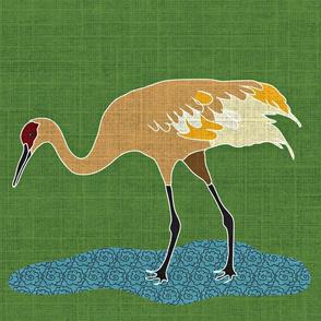 Sand Hill Crane with linen texture