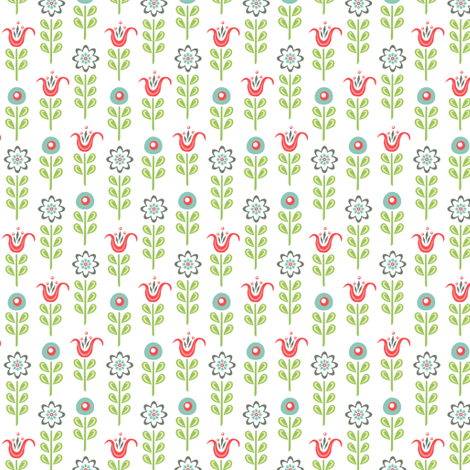 Chick-a-Doodle Tulips: White fabric by sheri_mcculley on Spoonflower - custom fabric