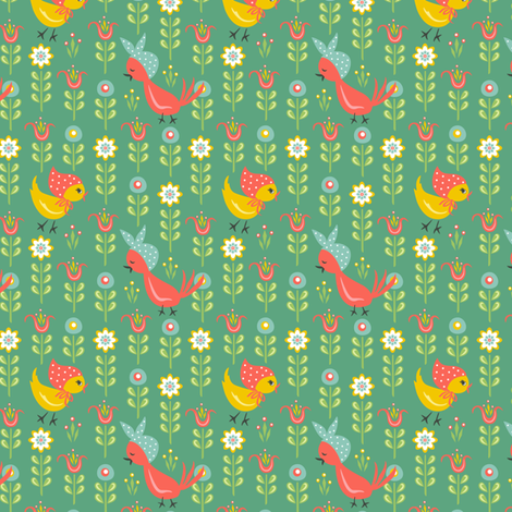 Chicks In Field: Green fabric by sheri_mcculley on Spoonflower - custom fabric
