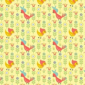 Chicks In Field: Yellow