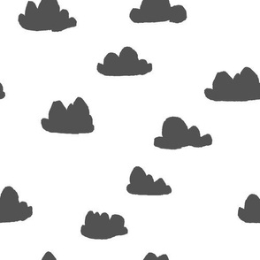 clouds // charcoal and white minimal trendy cool scandinavian nursery print for projects and textile home nursery decor