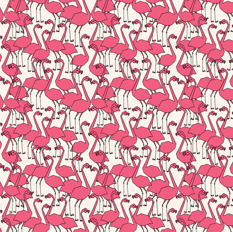 Flamingo - French Rose/Champagne (Smaller Version) by Andrea Lauren fabric by andrea_lauren on Spoonflower - custom fabric