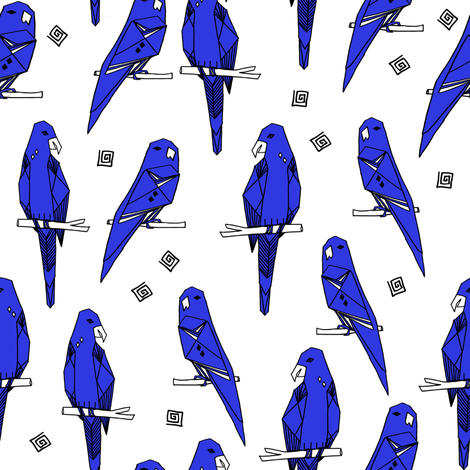 Parrots - Blue/White (Custom) by Andrea Lauren fabric by andrea_lauren on Spoonflower - custom fabric