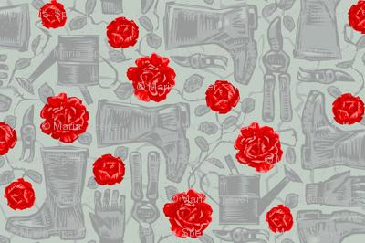 Red Rose Garden in Gumboots