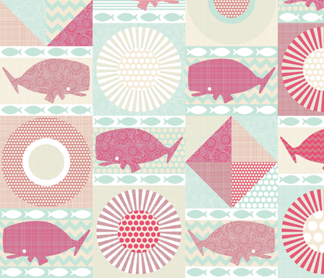 geo whales pink fabric by scrummy on Spoonflower - custom fabric