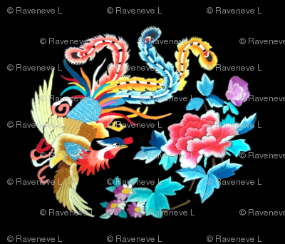 royal novelty thrones embroidery asian japanese china chinese oriental cheongsam kimono phoenix bird flowers peony garden imperial chinoiserie kings queens museum traditional rank regal korean kabuki geisha yuan ming qing dynasty tapestry vintage emperor