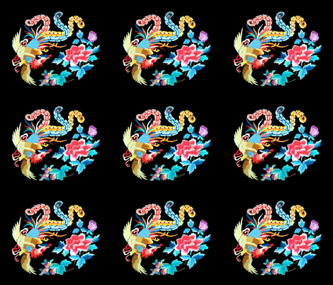 royal novelty thrones embroidery asian japanese china chinese oriental cheongsam kimono phoenix bird flowers peony garden imperial chinoiserie kings queens museum traditional rank regal korean kabuki geisha yuan ming qing dynasty tapestry vintage emperor  fabric by raveneve on Spoonflower - custom fabric