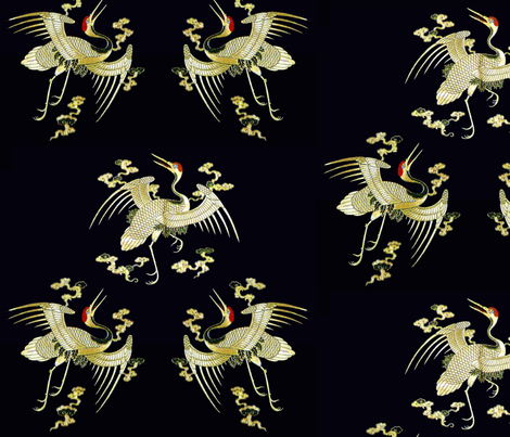 royal golden novelty thrones embroidery asian japanese china chinese oriental cheongsam kimono cranes storks herons birds clouds imperial chinoiserie kings queens museum traditional rank regal korean kabuki geisha yuan ming qing dynasty tapestry  vintage  fabric by raveneve on Spoonflower - custom fabric