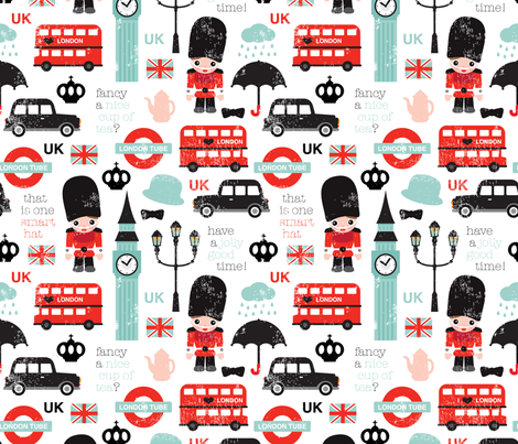 Crazy for London UK kids pattern fabric by littlesmilemakers on Spoonflower - custom fabric