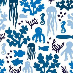 Jelly fish blue ocean sea life