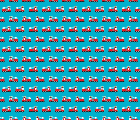 Fire to the rescue fire engine truck for boys fabric by littlesmilemakers on Spoonflower - custom fabric
