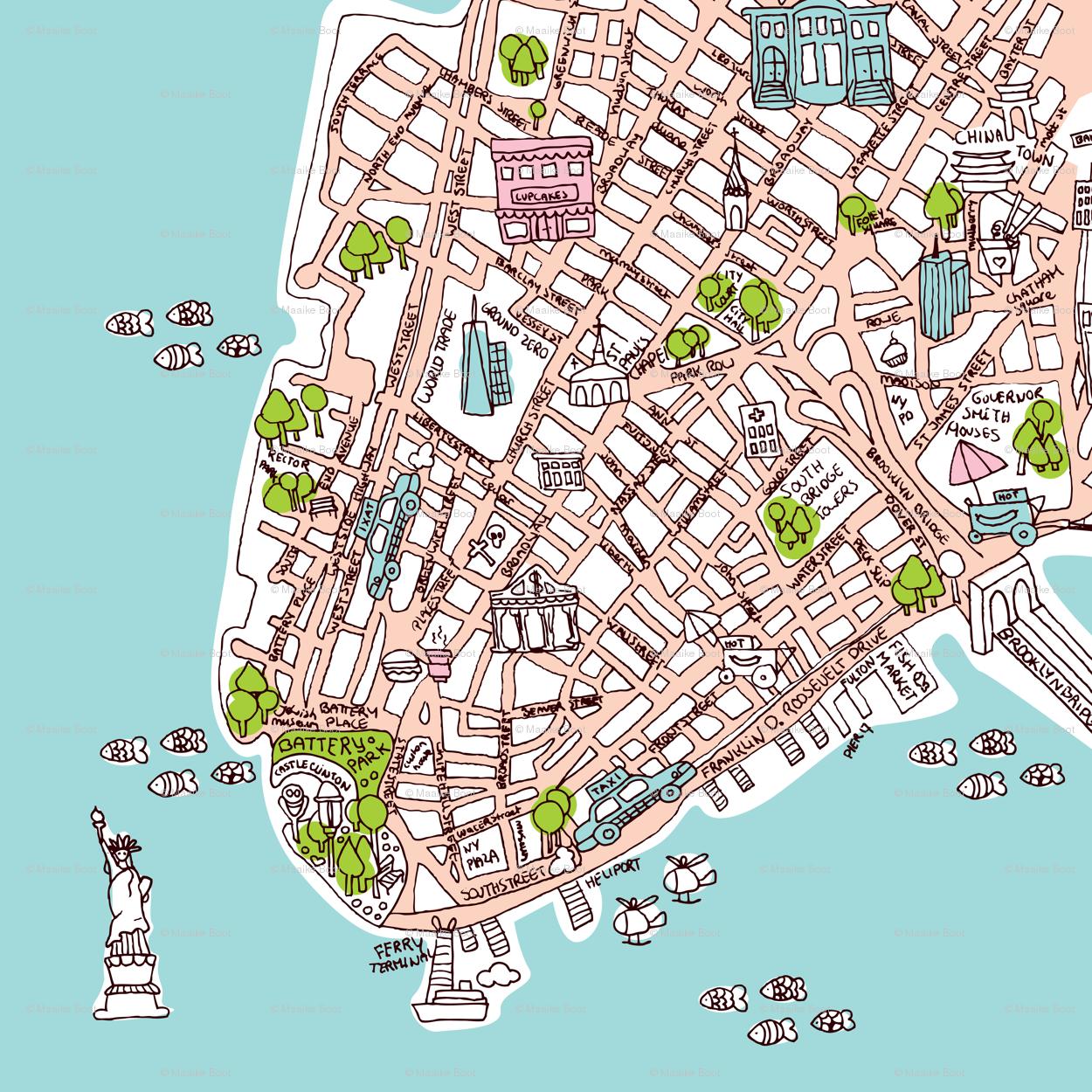 Map Of New York City Manhattan.New York City Manhattan Map Wallpaper Littlesmilemakers Spoonflower