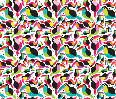 Colorful Brazil Tucan bird illustration fabric by littlesmilemakers on Spoonflower - custom fabric