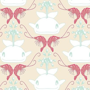 Whale & Shrimp Damask