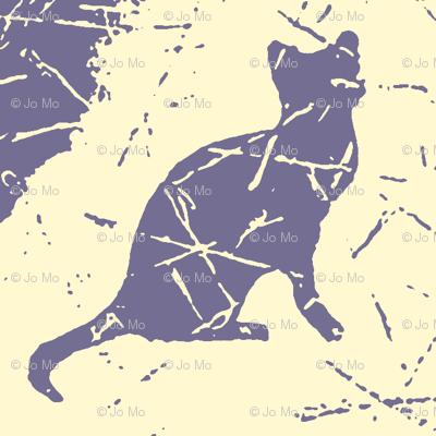 Cat Silhouette Damask Buttercream
