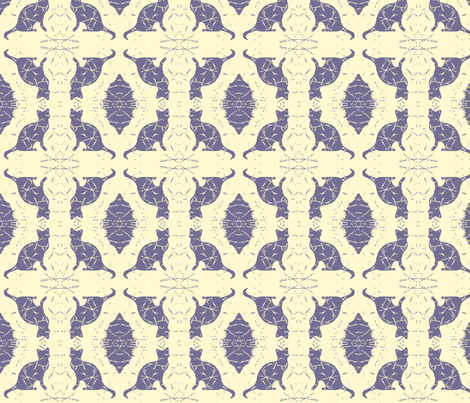 Cat Silhouette Damask Buttercream fabric by peaceofpi on Spoonflower - custom fabric