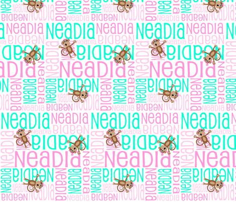 Personalised Name Design - Girl Monkeys Pink and Mint fabric by shelleymade on Spoonflower - custom fabric