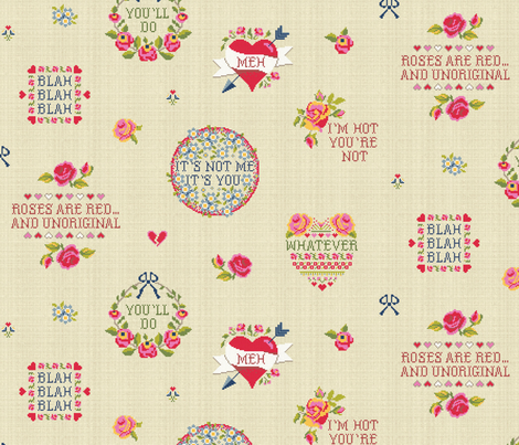 Jaded Valentine (embroidery on linen) fabric by cerigwen on Spoonflower - custom fabric