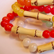 Colorful Jade and Bamboo Bracelets