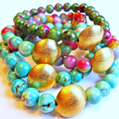 Turquoise and Jade Beads with Gold