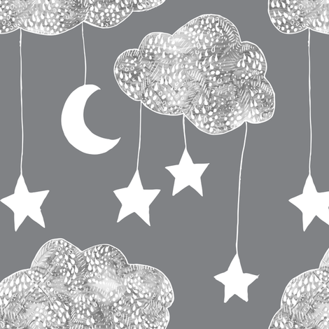 Sailing Dreams Clouds  in Charcoal grey fabric by emilysanford on Spoonflower - custom fabric