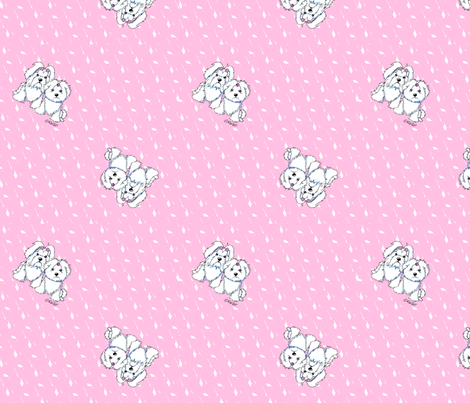 Girlie Girl Maltese on Diamonds fabric by kiniart on Spoonflower - custom fabric
