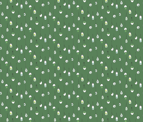 Hanging Air Plants in Green fabric by emilyannstudio on Spoonflower - custom fabric