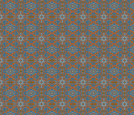 Heart Village Blue and Orange fabric by ccogburn on Spoonflower - custom fabric