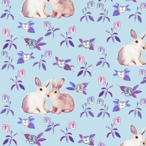 Bunnies in Love Garden, Blue Purple Floral