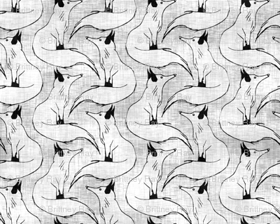 Arctic Foxes on Linen