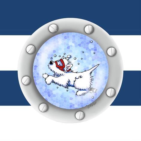 Nautical Westie Diver  fabric by kiniart on Spoonflower - custom fabric